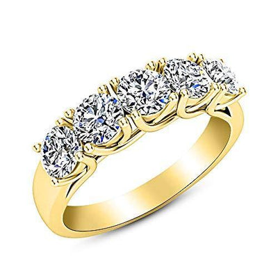 1.5 1 1/2 Carat (ctw) 14K Yellow Gold Round Diamond Ladies 5 Five Stone Wedding Anniversary Stackable Ring Band Luxury Collection (D-E Color VS1-VS2 Clarity)