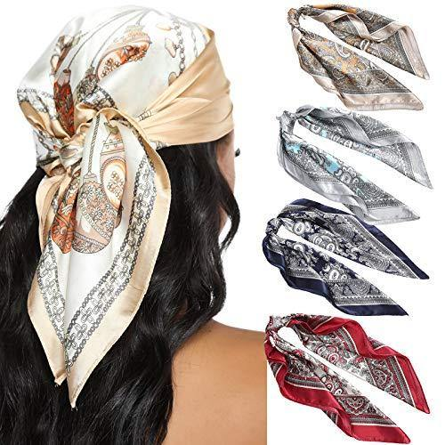 23.6 Inches Satin Head Scarves for Women 4PCS Square Silk Like Hair Scarves Silk Hair Bandanas (Cashew)