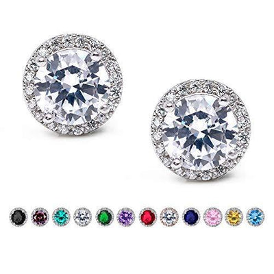 SWEETV Cubic Zirconia Stud Earrings, 8mm Round Cut, Rhinestone Hypoallergenic Earrings for Women & Girls (01.Silver)