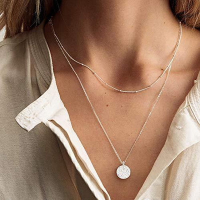 Fettero Layered Necklace Sliver Satellite Chain Choker Coin Disc Hammered Pendant Dainty 14K Gold Plated Minimalist Simple Boho for Women Jewelry Mother's Gift
