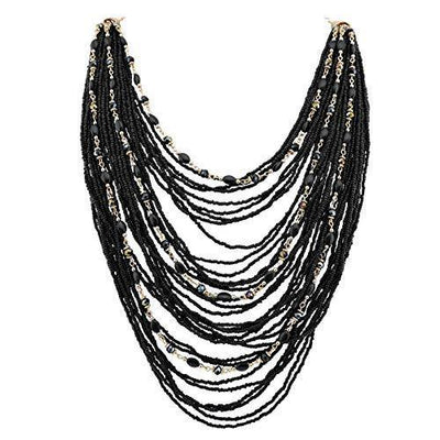 Bocar Multi-Layer Long Chain Chunky Bib Seed Beads Statement Necklace (NK-10410-black)