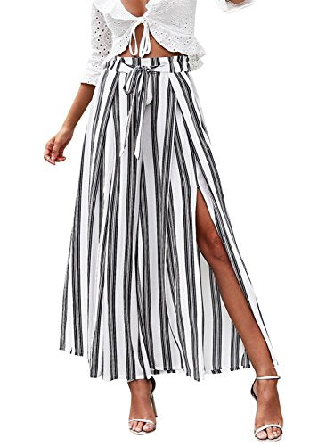 Simplee Women's Elegant Striped Split High Waisted Belted Flowy Wide Leg Pants, White Stripe, 4/6, Small