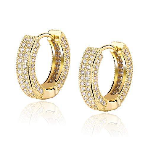 TOPGRILLZ 14K Gold Plated Iced Out Hypoallergenic Cubic Zirconia Huggie Cartilage Cuff Hoop Earrings for Women (Gold)