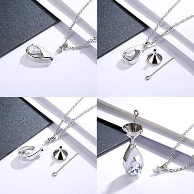 925 Sterling Silver Cremation Jewelry Memorial CZ Teardrop Ashes Keepsake Urns Pendant Necklace for urn necklaces ashes Jewelry Gifts
