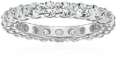 Platinum-Plated Sterling Silver All-Around Band Ring set with Round Swarovski Zirconia (3 cttw), Size 9