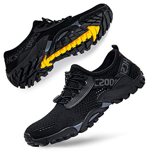 Men Water Shoes Quick Drying Women Water Hiking Swim Beach Shoes for Sailing Kayaking Surfing All Black