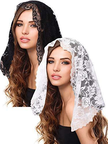 2 Pieces Floral Lace Veils Head Covering Latin Mass Mantilla Veils Short Scarf for Bridal Women (Color Set 1)