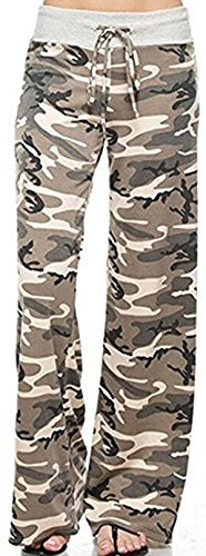 X-Image Women's Comfy Stretch Floral Print Drawstring Palazzo Wide Leg Lounge Pants Camo, Large