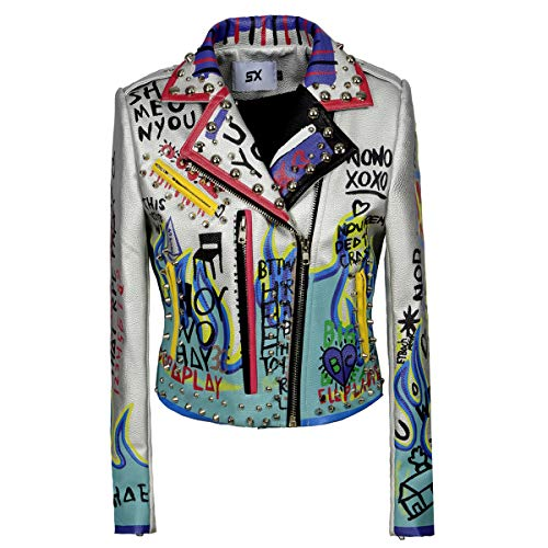 Wancheng Global Trade Women's Print Faux Leather Studded Graffiti Look Punk Biker Moto Jacket with Patches (4XL, White)