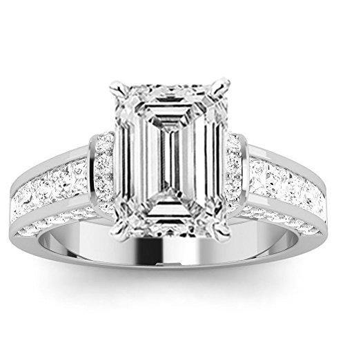 1.36 Carat 14K White Gold Contemporary Channel Set Princess and Pave Round Cut Emerald Cut Diamond Engagement Ring (F Color SI2 Clarity Center Stones)