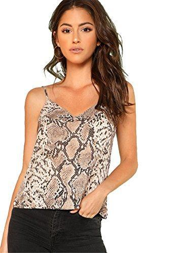 Romwe Women's Animal Snake Skin Graphic Print Cami Top Multicolor L