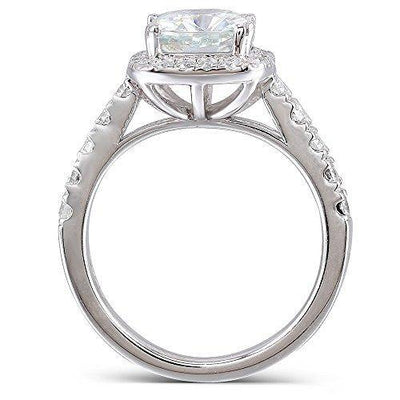 DovEggs 2ct Center 7.5mm Cushion Cut 2.3mm Width G-H-I Color Moissanite Engagement Ring Solitare with Accents Platinum Plated Silver (6.5)