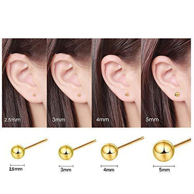 Sinya Unisex High Polished Solid 18kt Rose Gold 3mm Ball Stud Earrings For Women Man Senstive Ears