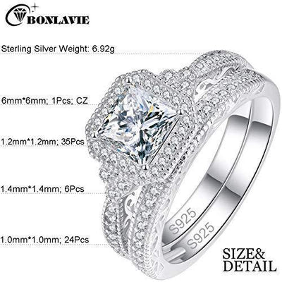 BONLAVIE Halo Anniversary Ring Set Pure 925 Sterling Silver Vintage Pattern Engraved White CZ Size 9