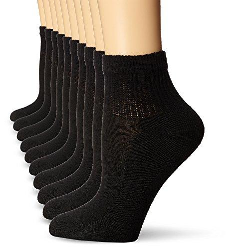 Hanes Women's Cushioned Athletic Ankle Socks, Black/Pink 10 Pack, Shoe Size: 5-9
