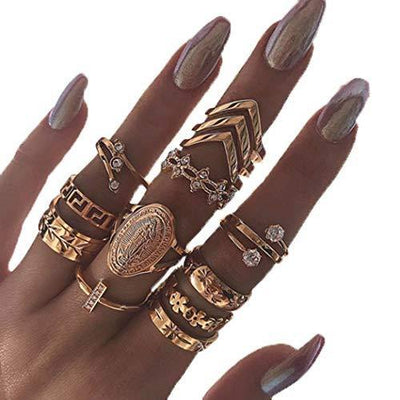 Edary Vintage Carved Joint Knuckle Rings Crystal Rings Set Gold Rings for Women and Girls(13PCS)