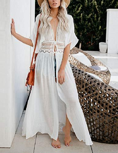 Bsubseach White Long Swimsuit Kimono Cover Up Summer Short Sleeve Beach Open Front Cardigan Cover Ups for Women - PRTYA