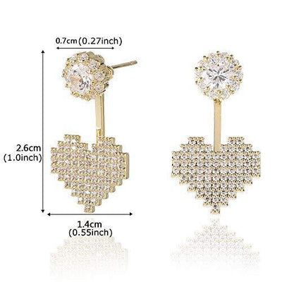 SENTERIA 925 Sterling Silver Stud Earrings for Women Iced Out Cubic Zirconia Twotone Micropave Ear Jacket Front Back Ear Cuffs Stud Earring