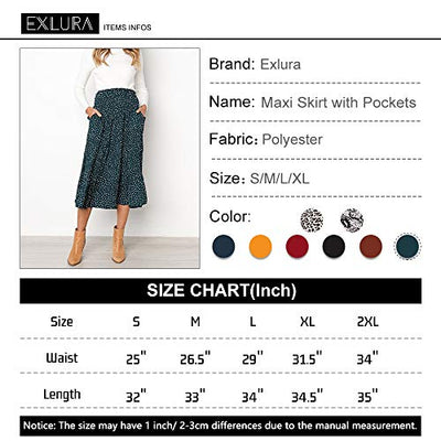 Exlura Womens High Waist Polka Dot Pleated Skirt Midi Swing Skirt with Pockets Green Medium