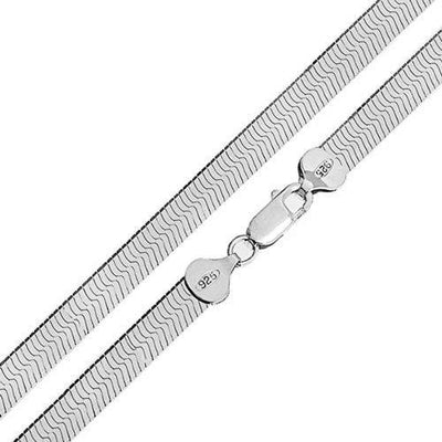 Flat Snake Flexible Chain Herringbone Necklace For Women 080 Gauge 925 Sterling Silver Made In Italy 16 Inch