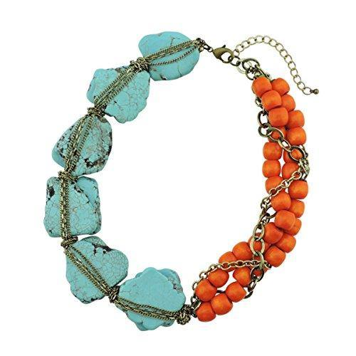 BOCAR Personalized Big Statement Turquoise Chunky Collar Chain Necklace for Women Gifts (NK-10271-turquoise+orange)