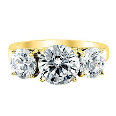 2 Carat 3 Three Stone Round Diamond Engagement Ring 14K Yellow Gold Value Collection