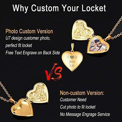 "U7 Women Girls 18K Gold Plated Heart Photo Locket Pendant Necklace, 22"" Chain"