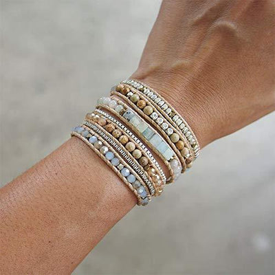 IUNIQUEEN Women Boho 5 Wraps Handmade Beaded Statement Stainless Steel Box Chain Bracelet Jewelry