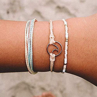 Handmade Braided Wax Rope Adjustable Strand Wrap Bracelet Set Waterproof Wave Shell Charm Stretch Knot String Thread Bracelets Friendship Jewelry