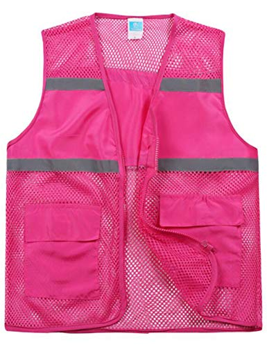 Yimoon Women's Lightweight Outdoor Work Mesh Zip Vest with Reflective Strips (Rose red, X-Large)