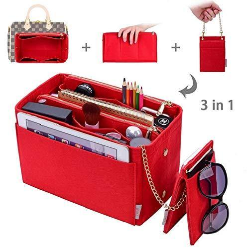 Purse Organizer, bag organizer With 2 Metal Zippers, RFID Blocking Pocket Purse Organizer Insert,5 Sizes, 6 Color (Large, Red)