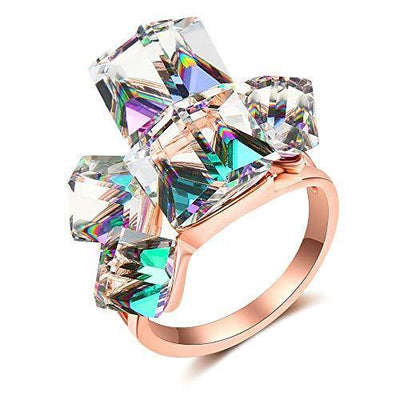 dnswez Rose Gold Plated Green Cubic Crystals Cluster Statement Cocktail Rings for Women(8)