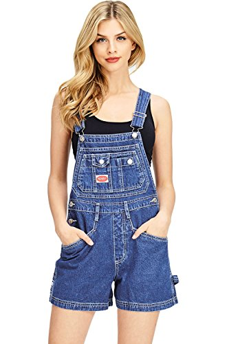 Revolt Women's Juniors Classic Twill Short Overalls, Dark Stone Wash, Medium