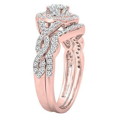 Dazzlingrock Collection 1.00 Carat (ctw) 14K White Diamond Swirl Bridal Halo Engagement Ring Set 1 CT, Rose Gold, Size 8