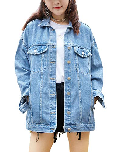 Omoone Women's Oversized Mid Long Denim Jacket Jean Biker Coat(0199-Denim Blue-XL)