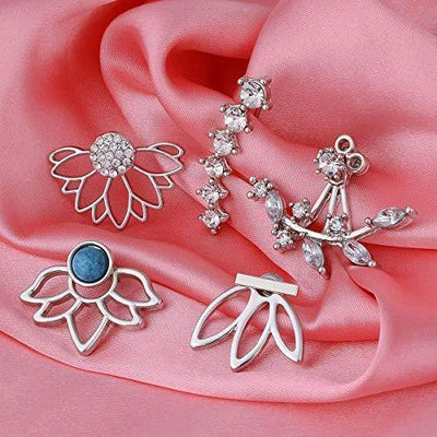 double ideal 5 Pairs Lotus Flower Earrings Jackets for Women and Girls Multiple Dainty Chic Ear Jacket Stud Earring Set (Silver)