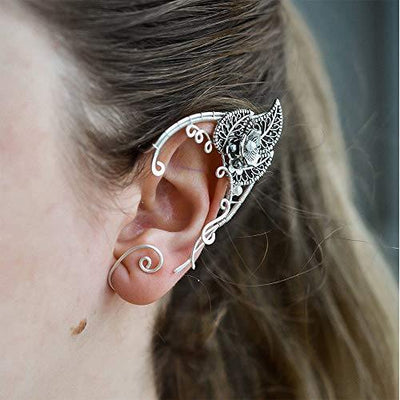 Yolmina Elf Ear Cuffs, Handmade Clip-on Earrings Elven Cuff Wrap Earrings for Women - Pearl Wing Tassel Filigree - Fantasy Fairy Halloween Costume, Cosplay, Wedding, Handcraft