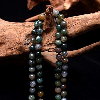 Cat Eye Jewels Long Beaded Necklace 8MM 59 Inch Indian Agate Semi-Precious Multi Layered Natural Mala Beads Stone Endless Infinity Strand Necklaces for Women Men Girls IA010