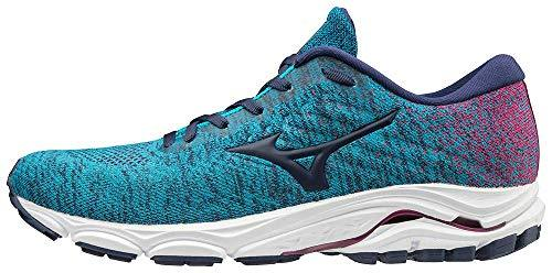 Mizuno Women's Wave Inspire 16 WAVEKNIT Running Shoe Road, Enamel Blue-Medieval Blue, 9 B US