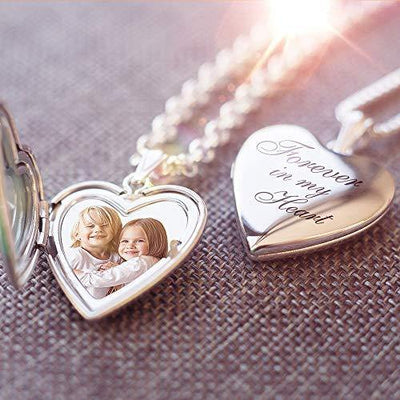 PicturesOnGold.com Forever in My Heart Locket Necklace Pendant in Sterling Silver - 3/4 Inch X 3/4 Inch - Includes 18 inch Chain (Locket + Photo)