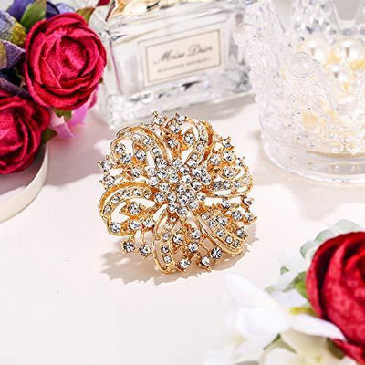 EVER FAITH Austrian Crystal Vintage Inspired Bridal Flower Brooch Corsage Clear Gold-Tone