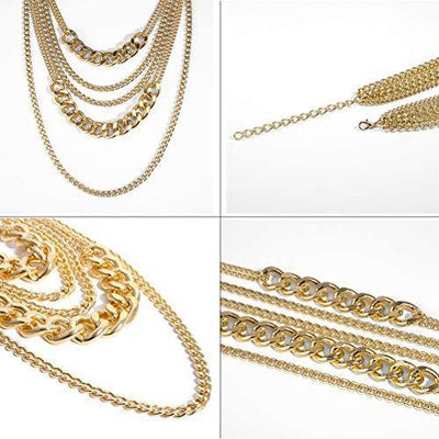 CIBIRICH Chunky Necklaces for women Punk Chain Gold Statement Collar Necklace