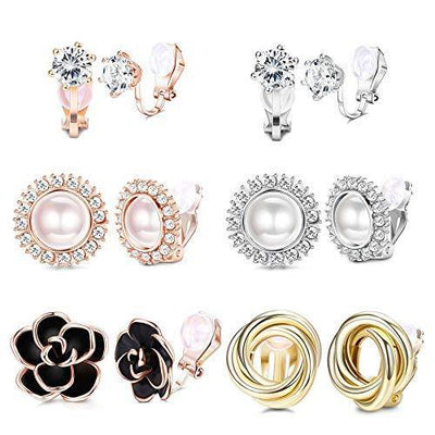 SAILIMUE 6 Pairs Clip Earrings Sets for Women Fashion Flower Pearl Cubic Zirconia Love Knot Hypoallergenic Non Pierced Clip On Earrings