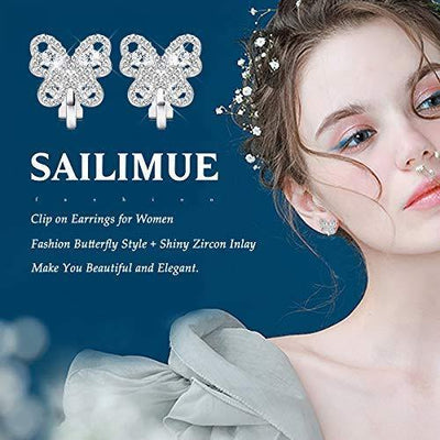 SAILIMUE 8 Pairs Clip on Earrings for Women Silver Faux Pearl Cubic Zirconia Butterfly Clip Earrings Non Piercing Semi Hoop Gold Clip on Earrings Non Pierced Clip Earrings Set