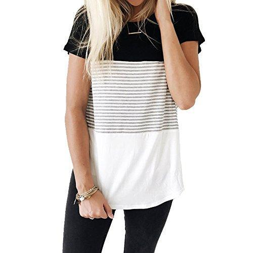 YunJey short sleeve round neck triple color block stripe T-shirt casual blouse,Black,XX-Large