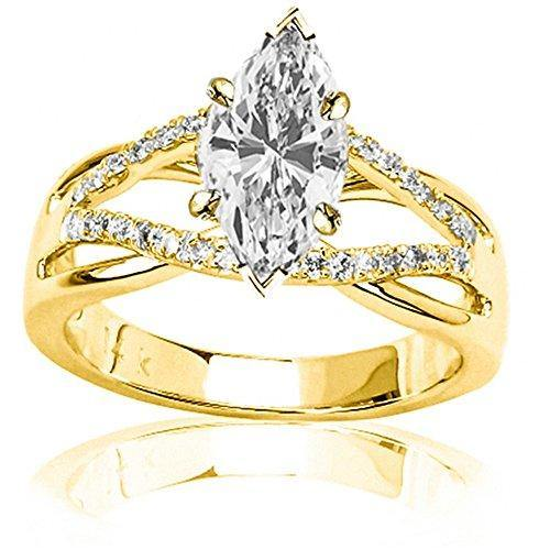 14K Yellow Gold 0.86 CTW Infinity Twisting Split Shank Pave Set Round Diamonds Engagement Ring w/ 0.59 Ct Marquise Cut H Color SI1 Clarity Center