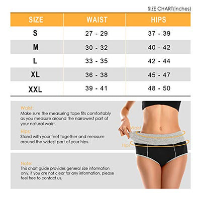 Shessexy Womens Underwear Cotton Ladies Mid Waist Comfortable Hipster Briefs Panties Underwear for Women 5 Pack