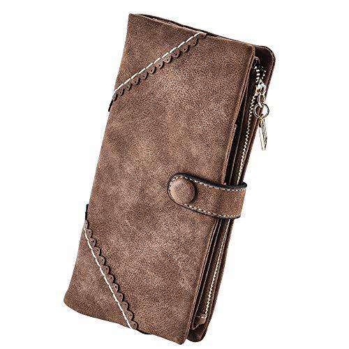 Women Vegan Leather Wallet Bifold Clutch Large Capacity Card Organizer Buckle Long Purse for Girls Candy Color (Coffee) …