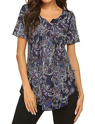 Womens Tops Short Sleeve Tunics to Wear with Leggings Summer Floral Blouse Henley Shirt Purple L