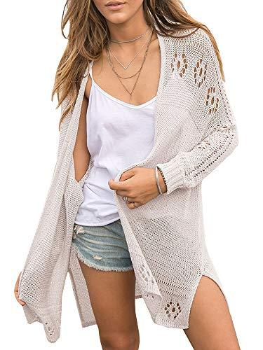 Misassy Womens Open Front Knit Sheer Cardigans Summer Boho Lightweight Long Sleeve Kimono Long Sweater Grey